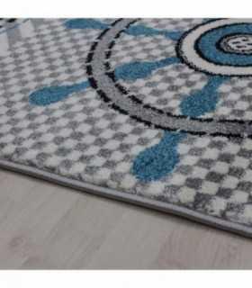 Çocuk Halısı Korsan desenli Gri Mavi Beyaz
