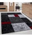 Modern Desenli Oymalı Halı Kareli Tasarım Siyah Kırmızı Gri
