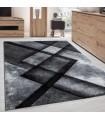 Modern Desenli Oymalı Halı Dikdörtgen tasarımlı Gri Siyah