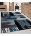 Modern Tasarımlı Halı Fırça boyama efekti Siyah Gri Mavi Beyaz