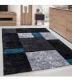 Modern Desenli Oymalı Halı Kareli Tasarım Siyah Mavi Gri