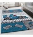 Çocuk Halısı Yarış Araba desenli Mavi Gri
