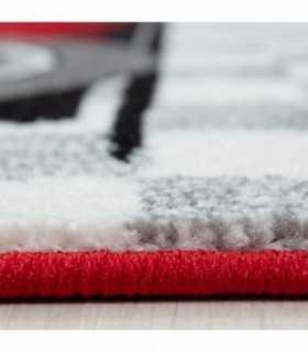Çocuk Halısı Yarış araba desenli Kırmızı Beyaz