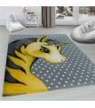 Çocuk halısı sevimli Peri Atı desenli Gri Sarı Beyaz renklerde