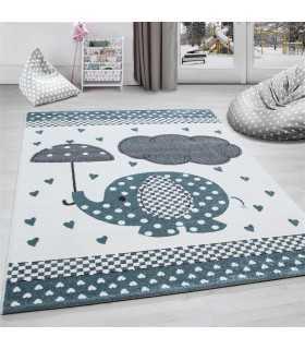 Çocuk halısı Fil Şemsiye Kalp yagmuru desenli Gri Mavi Beyaz
