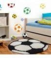 Çocuk Halısı Futbol Topu Uzun İplikli Shaggy yuvarlak Siyah Beyaz