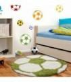Çocuk Halısı Futbol Topu Uzun Iplikli Shaggy yuvarlak Yeşil ve Beyaz