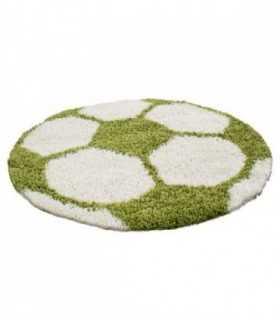 Çocuk Halısı Futbol Topu Uzun İplikli Shaggy yuvarlak Yeşil ve Beyaz