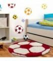 Çocuk Halısı Futbol Topu Uzun İplikli Shaggy yuvarlak Bordo ve Beyaz
