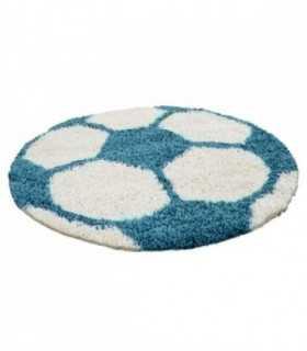 Çocuk Halısı Futbol Topu Uzun İplikli Shaggy yuvarlak Mavi ve Beyaz