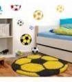 Çocuk Halısı Futbol Topu Uzun İplikli Shaggy yuvarlak Sarı Siyah Renkli