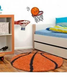 Çocuk Halısı Basketbol Topu Uzun İplikli Shaggy yuvarlak Turuncu Siyah