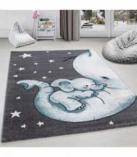 Çocuk halısı Fil ve Yıldız desenli Gri-Mavi-Beyaz