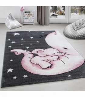 Çocuk halısı Fil ve Yıldız desenli Gri-Pembe-Beyaz