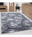 Modern desenli Halı 3 Boyutlu çatlamış toprak tasarımı Siyah Gri Beyaz