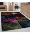 Modern Desenli Halı Kare motifli taramalı Renkli Tasarım