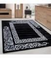 Desenli Halı versace ve barok tasarımlı Siyah Beyaz renkli