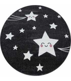 Çocuk odası halısı sevimli yıldız desenli Gri Beyaz renkli