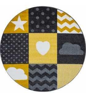 Çocuk odası halısı kareli yıldız kalp bulut desenli Gri Sarı Beyaz
