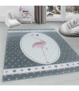Çocuk odası halısı sevimli Flamingo Yıldız desenli Gri Pembe Beyaz