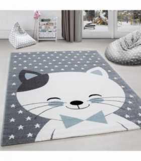 Çocuk halısı Sevimli Kedi ve Yıldız desenli Gri-Mavi-Beyaz