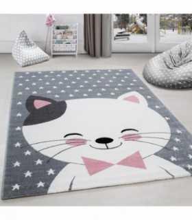 Çocuk halısı sevimli Kedi ve Yıldız desenli Gri-Pembe-Beyaz