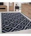 Modern desenli Halı Geometrik Kareler Siyah Gri