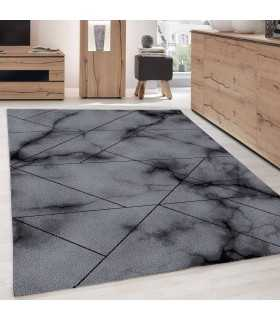 Modern desenli Halı Geometrik çizgili mermer optik Siyah Gri