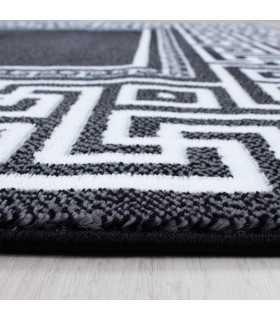 Modern desenli Halı Geometrik versace optik Bordür Siyah Beyaz