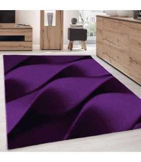 Modern desenli Halı Geometrik dalgalı tasarım Lila Siyah Gri