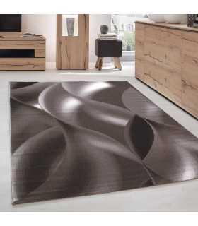 Modern desenli Halı Geometrik dalgalı tasarım Kahverengi Bej