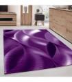 Modern desenli Halı Geometrik dalgalı tasarım Siyah Lila Beyaz