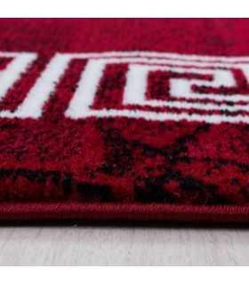 Modern desenli Halı Mermer görünüm Ornament Bordür Siyah Kırmızı