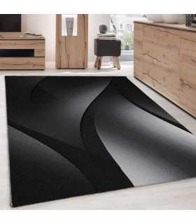 Modern desenli Halı Abstrak dalgalı desen Siyah Gri