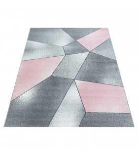 Modern desenli Halı Geometrik tasarım bulanık tonlarda Pembe Gri Beyaz