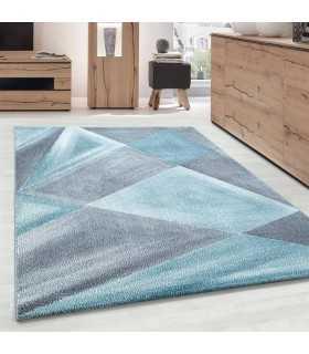 Modern desenli Halı Geometrik tasarım bulanık tonlarda Gri Mavi