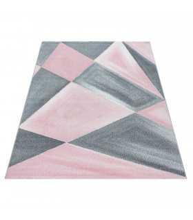 Modern desenli Halı Geometrik tasarım bulanık tonlarda Gri Pembe