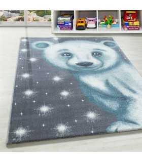 Çocuk Bebek odası halısı Kutup ayısı desenli Halı Gri Mavi Beyaz