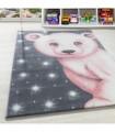Çocuk Bebek odası halısı Kutup ayısı desenli Halı Gri Pembe Beyaz