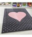 Çocuk Bebek odası halısı Kalp puan desenli Halı Pembe Gri