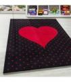 Çocuk Bebek odası halısı Kalp puan desenli Halı Kırmızı Siyah