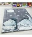 Çocuk Bebek odası halısı Dinazor Yıldız desenli Mavi Gri Beyaz