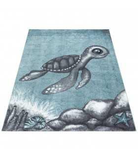 Çocuk Bebek odası halısı sevimli Kaplumbağa deseni Mavi Gri Beyaz