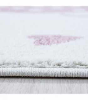 Çocuk halısı Fil şemsiye kalp yağmuru desenli Gri Pembe Beyaz
