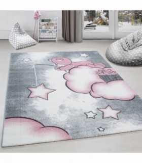 Çocuk halısı Ayı bulut yıldız desenli Gri Pembe Beyaz