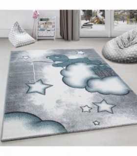 Çocuk halısı Ayı Bulut Yıldız desenli Mavi Gri Beyaz
