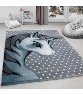 Çocuk halısı sevimli Peri Atı desenli gri mavi renklerde