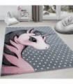 Çocuk halısı sevimli Peri Atı desenli gri pembe renklerde