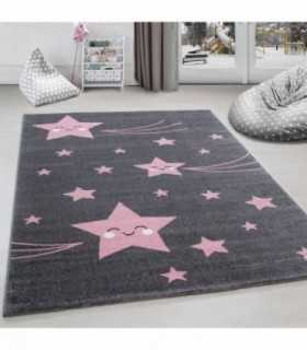 Çocuk halısı sevimli yıldız desenli gri pembe
