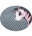 Yuvarlak Çocuk halısı Unicorn Peri Atı desenli gri pembe renklerde